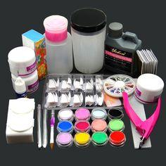 Acrylic Liquid Powder Half French Nail Art Tips Pump File Clipper Tools Kit #Unbranded