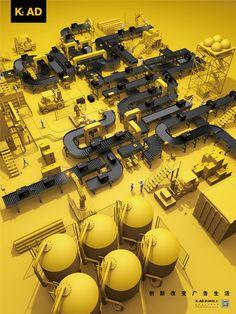 #plant #factory #conveyor #3d #vessel 3d Design, Game Design, Graphic Design, 3d Foto, 2d Game Art, Isometric Art, 3d Artwork, Environment Concept Art, Architecture Drawings