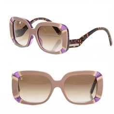 This is an authentic pair of LOUIS VUITTON Anemone Sunglasses Z0516E. These stunning sunglasses have brown gradient lenses set in light brown oversized squared rims with violet accents and curved tortoise arms with a brass Louis Vuitton name plate at the hinge.