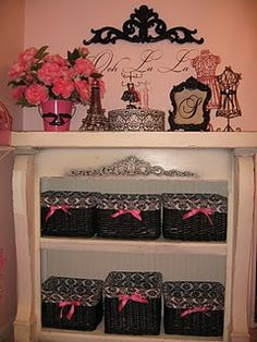 Love this - very chic and feminine. Could be altered to go with the Tiffany blue/pink/cream colored Paris theme ideas.
