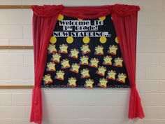 hollywood bulletin board welcome back Hollywood Bulletin Boards, Star Bulletin Boards, Hollywood Theme Classroom, Classroom Bulletin Boards, Classroom Setup, Red Carpet Theme, Red Carpet Party, Hooray For Hollywood, Hollywood Party
