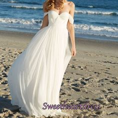 White chiffon sweetheart long prom dress, cheap homecoming dress