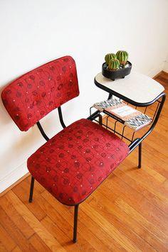 Vintage Mid Century Modern Wrought Iron Gossip Telephone Chair on Etsy, $225.00