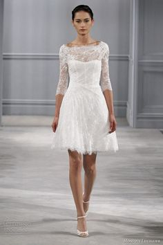 Are you looking for a short wedding dress with sleeves? We have selected a number of gorgeous short wedding dresses with sleeves. One of these chic dresses can be the dress that you are lon… Short Lace Wedding Dress, Wedding Dresses 2014, Long Sleeve Wedding, Wedding Dress Styles, Wedding Gowns, Wedding Robe, Party Dresses, Wedding Reception, Backless Wedding