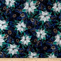 Winter Wonderland Flannel Poinsettia Midnight from @fabricdotcom  Designed by Color Principle for Henry Glass & Company, this single napped (brushed on face side) flannel fabric is perfect for quilting, and home decor accents. Colors include dark blue, shades of green, grey, and brown.