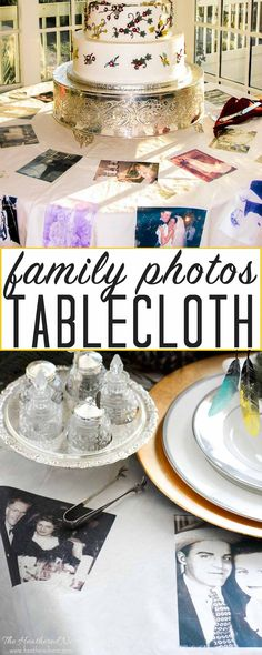 Our cake table literally took the cake at our DIY wedding. We mad a custom wedding dessert table cloth using family photos. Here's how you can too...