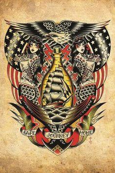 Safe Journey Home by Tyler Bredeweg Nautical Rockabilly Fine Art Print