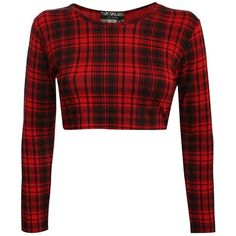 Pilot Kirsten Long Sleeve Tartan Check Print Crop Top in Red, size... ❤ liked on Polyvore featuring tops, red long sleeve top, plaid crop top, tartan crop top, print tops and pattern tops