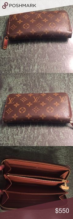 Louis Vuitton Zippy Wallet 8 credit card slots, zipper coin pocket, 1 open compartment for banknotes, 2 inside patch packets, 3 large gusseted compartments, zip closure Coated canvas outside, grained cowhide leather lining & shiny golden color metallic pieces. Louis Vuitton Bags Wallets