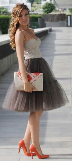 Tulle + Bustier W/A PoP of Orange & I love her Hair!