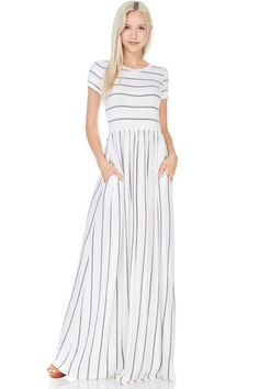 Sienna Striped Pocket Maxi in Ivory/Gray – Madera Place Clothing Co. Striped Maxi Dresses, Modest Dresses, Casual Dresses, Casual Clothes, Skirt Outfits, Dress Skirt, Cute Outfits, Modest Fashion, Fashion Outfits