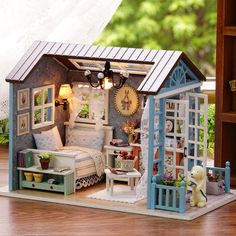 American Retro DIY DollHouse Miniatures House Gift LED Furniture Kit with Light   | eBay