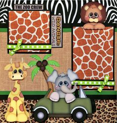2 12x12 premade scrapbook pages. - WHAT A ZOO - ( GIRL ). Adorable 3D art has been printed, hand cut, and made 3d with foam squares.   eBay!