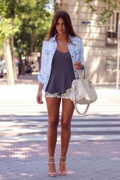 outfit-hoss_intropia-nude_sandals-denim_shirt-flower_shorts-vince_camuto-bag-bolso-agatha_paris-tiffany by Trendy Taste Mode Outfits, Short Outfits, Casual Outfits, Fashion Outfits, Fashion Mode, Look Fashion, Womens Fashion, Fashion Trends, Fall Fashion