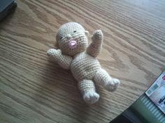 Cute little Baby Doll 18 cm tall. Free (Dutch) pattern designed by Zwaantje Creatief