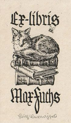 Ex Libris Fritz Cernajsek. Bookplate, book, stamp, illustration