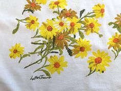 Luther Travis Printed Cotton Tablecloth Yellow by AStringorTwo