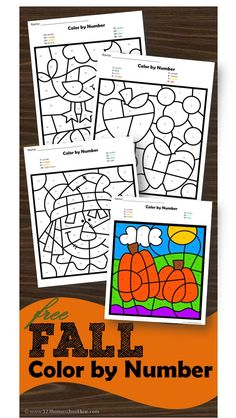 FREE Fall Color by Number Printable Worksheets