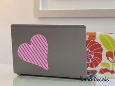 Valentine Decal, Heart Decal, Striped Heart, laptop decals, ipad decal, car window decals, Girl gift, Love Decal, small decal