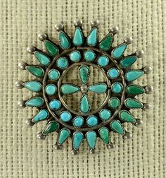 Vintage Zuni Silver and Turquoise Petit Point Pin