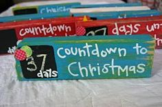 Countdown to Christmas- 2x4, chalk paint, scrapbook paper, clothespin