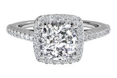 Ritani French-Set Halo Diamond Band Engagement Ring - in 14kt White Gold (0.21 CTW)