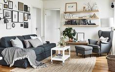 New living room grey sofa ikea shelves Ideas Ikea Living Room, Living Room Colors, Living Room Grey, Interior Design Living Room, Living Room Furniture, Living Room Designs, Ikea Interior, Kitchen Interior, Strandmon Ikea
