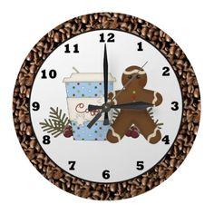 Christmas Coffee Gingerbread wall clock