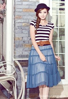 Graceful Pleated Split Joint Short Sleeves with Belt Bohemian Striped Dress