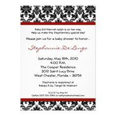 5x7 Red Crimso Black Damask Baby Shower Invitation