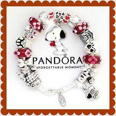 PANDORA 925 Silver Charm Bracelet + European Charms Red White Snoopy Dog New