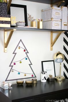 Small space Christmas decorating- easy and quick Washi tape Christmas tree