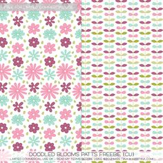 Doodled Blooms Printable Paper Patterns from Miss Tina