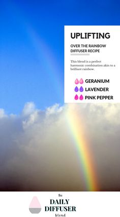 This Over the Rainbow diffuser blend recipe features geranium, lavender, and pink pepper. Geranium Essential Oil, Essential Oils, Geranium Diffuser Blend, Diy Beauty Essentials, Deep Hair Conditioner, How To Calm Nerves, Facial Steaming, Essential Oil Diffuser Blends, Aromatherapy