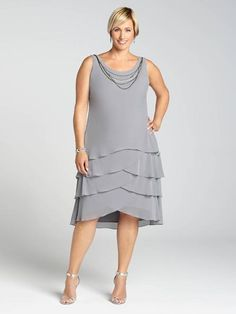 Laura Plus: for women size 14 . Step out in stunning evening style this Summer! This gorgeous chiffon tiered dress looks pretty with the jacket over your shoulders. And for those ultra-sweltering nights, remove the jacket to reveal a sleeve... 5030103-030