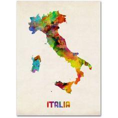 Trademark Fine Art Italy Watercolor Map Canvas Art by Michael Tompsett, Size: 24 x 32, Multicolor