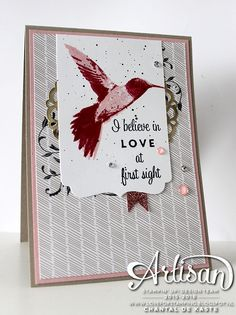 Sweet pink 'love at first sight card' with a touch of gold ~ Chantal de Kaste