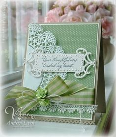 """Stamps: Words Cannot Express (Verve Stamps)  Paper: Woodland Walk dsp, Very Vanilla, Crumb Cake (Stampin' Up!)  Ink: Versafine Onyx Black (Tsukineko)  Accessories: Gingham ribbon (Etsy), paper roses (Recollections), lace trim, Platinum Liquid Pearls (Ranger), doily, Fancy Tags Two (Spellbinders), dimensionals, Pinking Hearts border punch (Stampin' Up!), jute twine  Size: 4 1/4"""" X 5 1/2"""""""