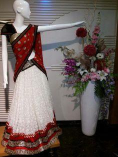 white color half saree
