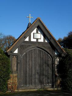 vwcampervan-aldridge: Lych gate at Aldridge Graveyard against winter blue sky, Aldridge, Walsall, England. Timber Gates, Wooden Gates, Red Bench, Walsall, Gate Design, Cabins In The Woods, British Isles, Doorway, Beautiful World