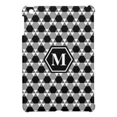 Black and Gray Triangle-Hex iPad Mini Cover- Our newest pattern is made of triangles and hexagons- but look carefully and you'll see sets of triangles pointing up and down.
