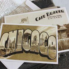 Vintage Travel Postcard Wedding Invitation (Chicago, Illinois)
