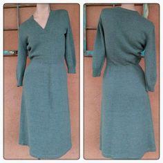Vintage 1970s Dress 70s Knit Sweater Dress Moss by bycinbyhand