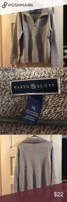 Women's Karen Scott gray sweater Women's Karen Scott gray sweater. Super cozy gray sweater with a big collar and zips part way down. In good condition, smoke free/pet free home. Karen Scott Sweaters