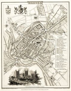 Exeter.  Original copper engraved #map of the city of #Exeter, with an inset view of the Cathedral and coats of arms. From The Beauties of England and Wales, which was published in parts from c. 1810-1815. 1805. 230 x 180 mm.