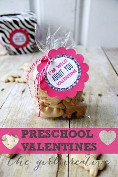 """Preschool Valentines """"I'm Wild About You, Valentine"""" printable tags"""
