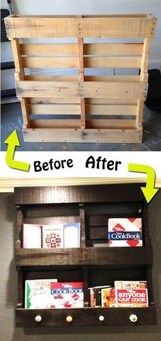 repurpose an old wood pallet into a book shelf with some paint and some 2nd hand dresser knobs!
