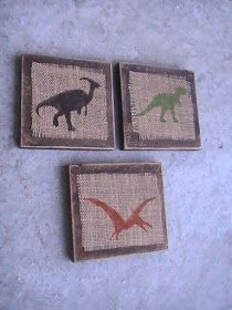 Craft Critters: Burlap Dinosaur Plaques I think this would be a striking way to display vintage florals too! Big Boy Bedrooms, Kids Bedroom, Bedroom Ideas, Boys Dinosaur Bedroom, Dinosaur Nursery, Boy Rooms, Kids Rooms, Printing On Burlap, T Rex