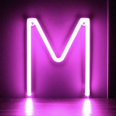 Neon Pink Light Up Letter - M