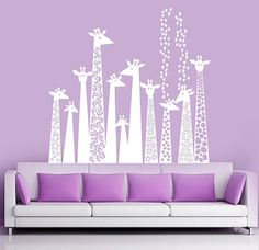 decal wall - white Giraffe silhouette - Childrens Wall Decal - wall vinyl stickers. $98.00, via Etsy.
